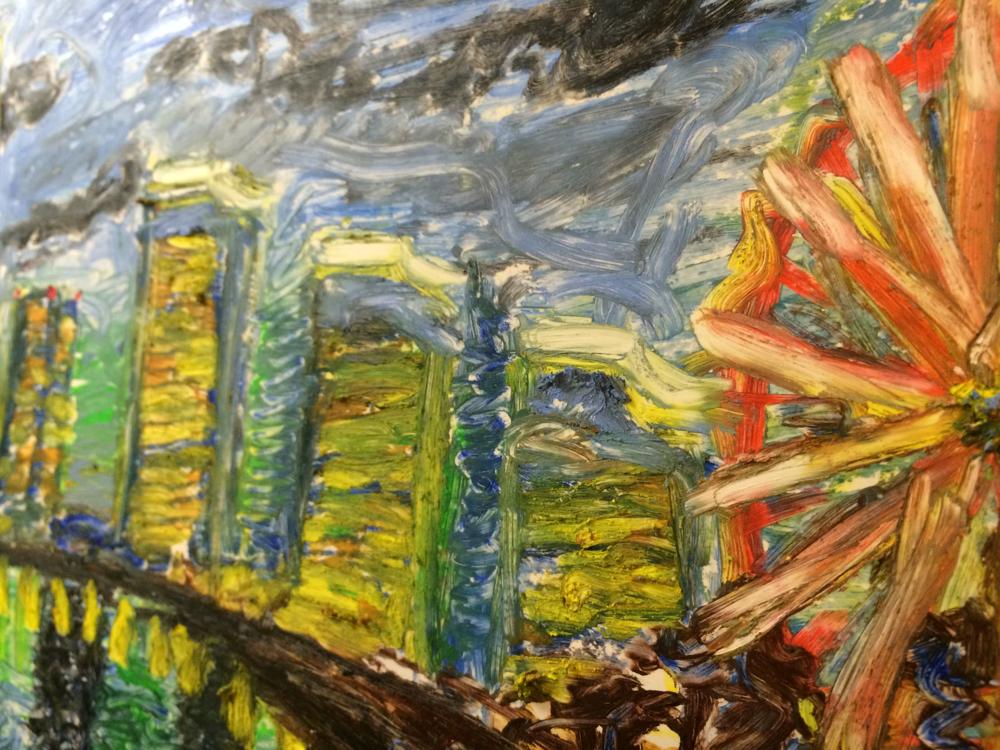 ホワイトボードにオイルパステルで絵を描いて消えるかどうか確かめてみた。