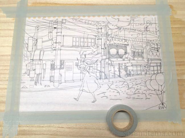 コピー用紙で水張り&水彩画を描く方法