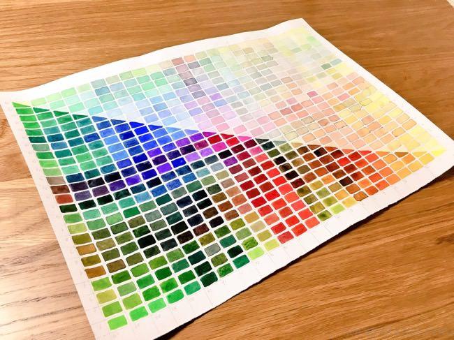 透明水彩24色混色表を作りました・感想・注意